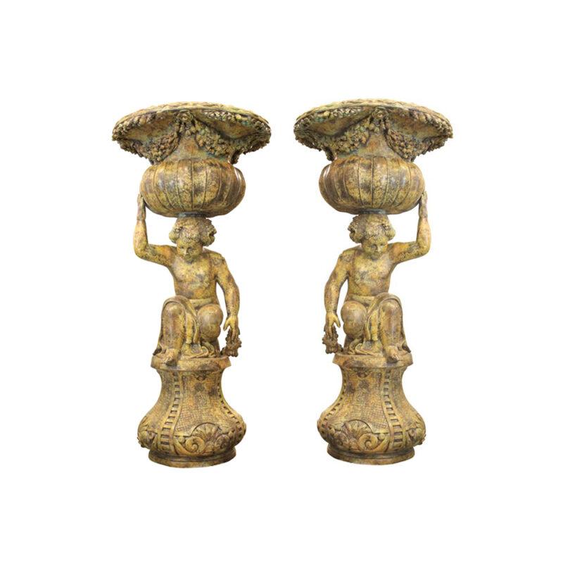 SRB991758-59 Bronze Kneeling Boy Planter Urn Sculpture Pair in Sand Green Patina by Metropolitan Galleries Inc