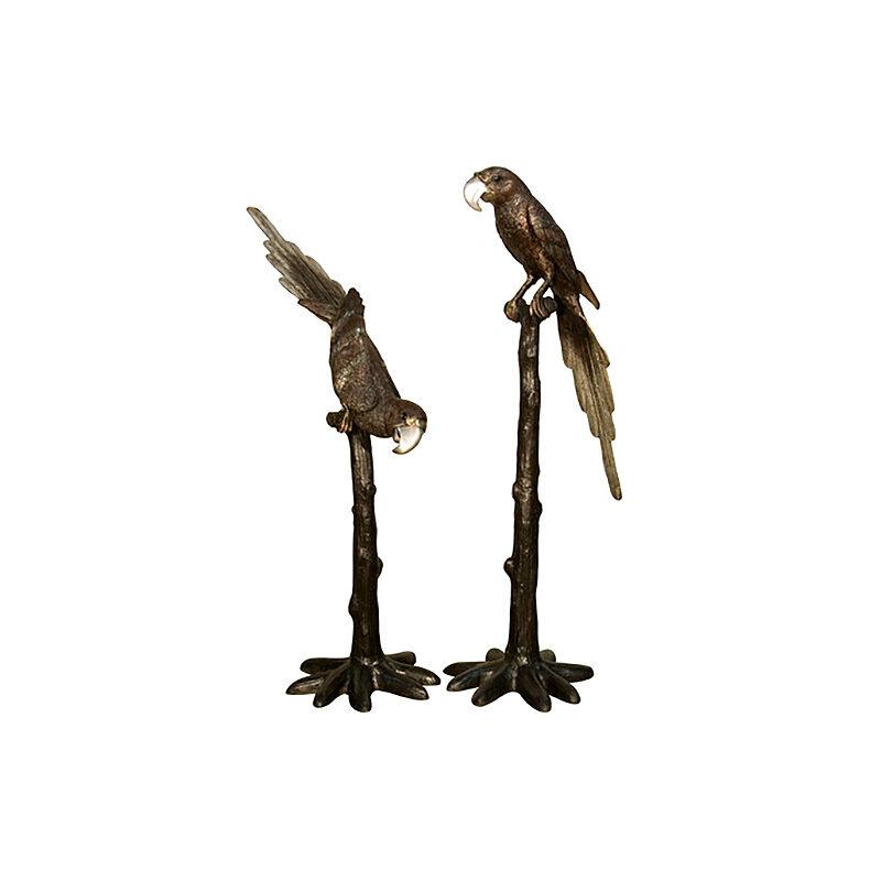 SRB028390 Bronze Parrots on Perch Sculpture Set by Metropolitan Galleries Inc