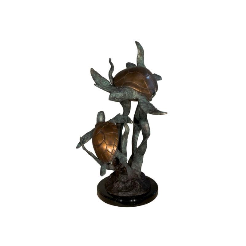 SRB047052 Bronze Two Sea Turtles in Seaweed Sculpture on Marble Base by Metropolitan Galleries Inc