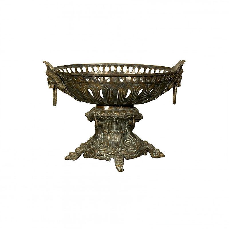 SRB056292 Bronze Neoclassical Lion Ring Planter Urn by Metropolitan Galleries Inc