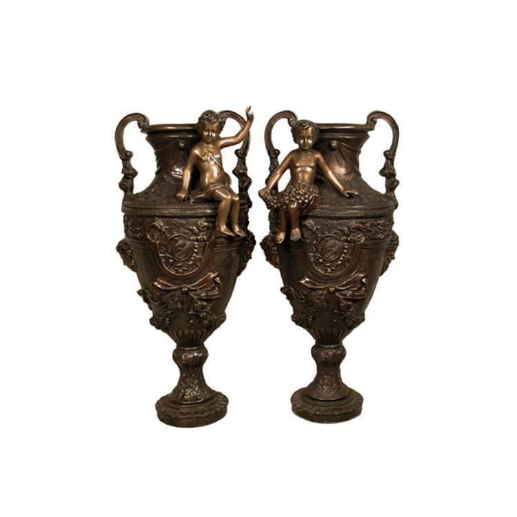 SRB083001-02 Bronze Classical Urn with Cherub Sculpture Pair by Metropolitan Galleries Inc