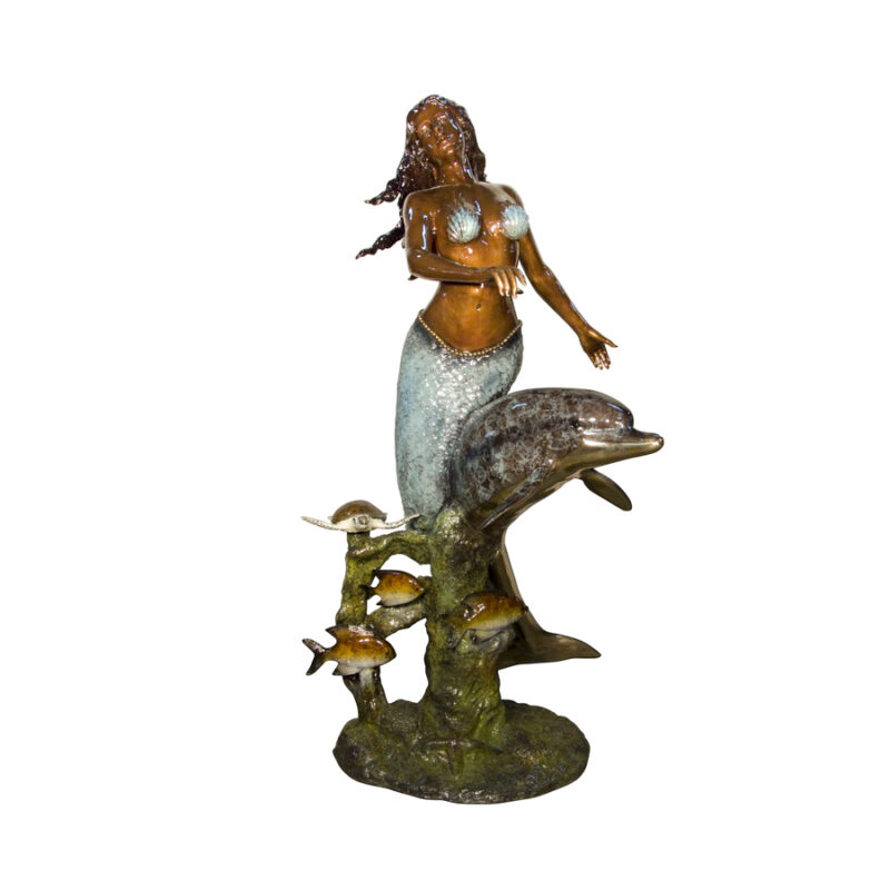 SRB097024C Bronze Mermaid with Dolphin & Fish Fountain Sculpture by Metropolitan Galleries Inc