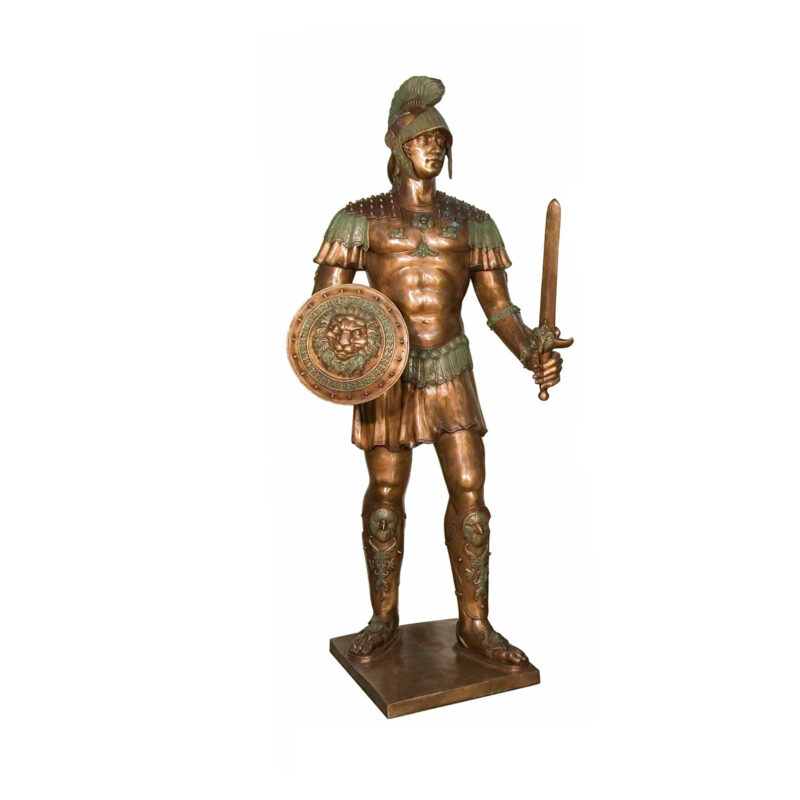 SRB052748-L Bronze Spartan Sculpture Left by Metropolitan Galleries Inc