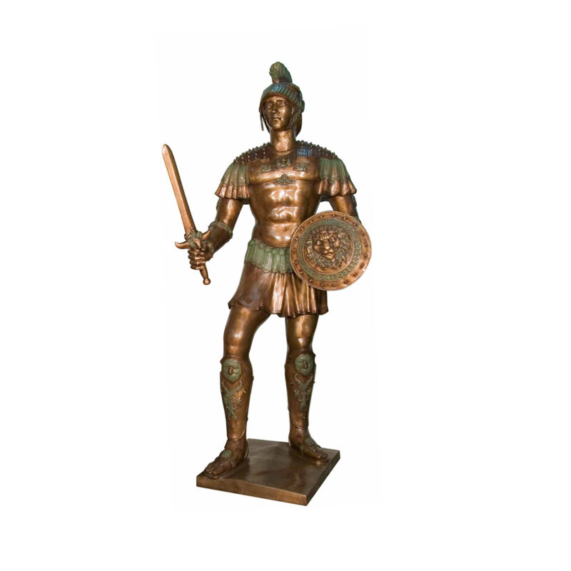 SRB052749-R Bronze Spartan Sculpture Left by Metropolitan Galleries Inc