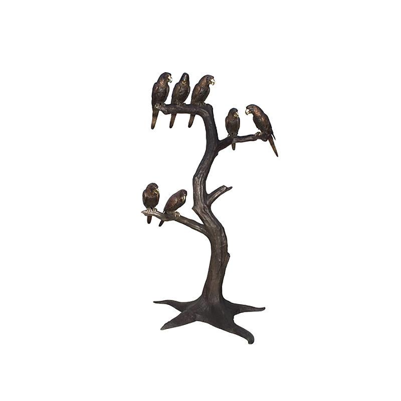 SRB057884 Bronze Seven Parrots in Tree Sculpture by Metropolitan Galleries Inc