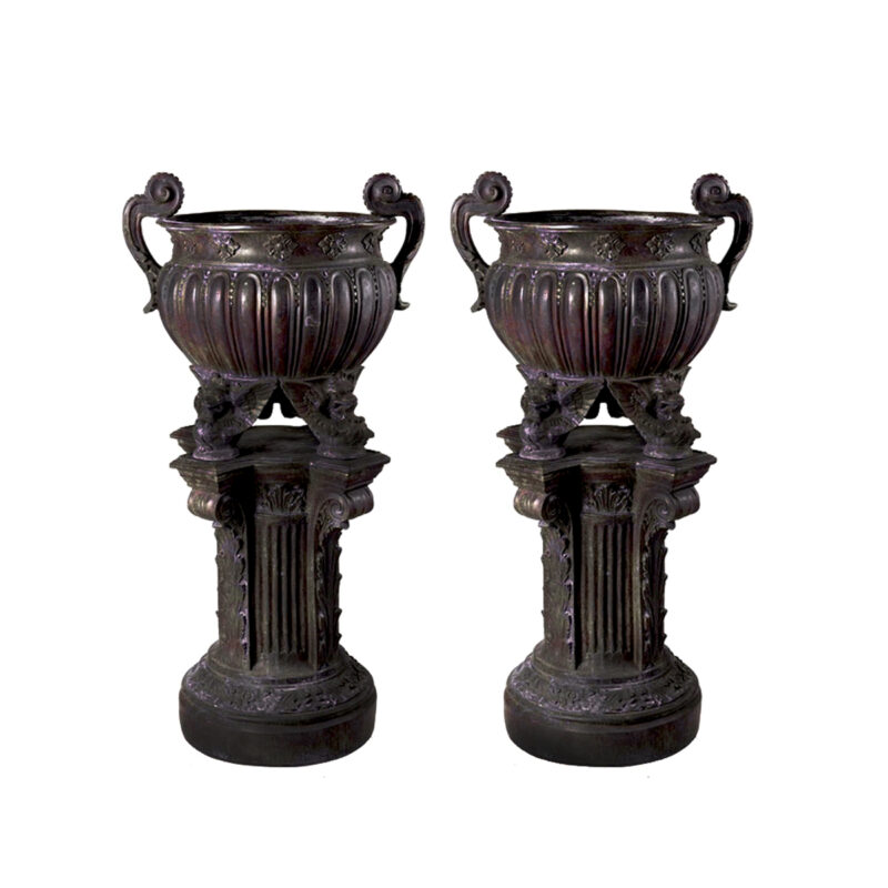 SRB52001 Bronze Classical Urn atop Pedestal Sculpture Pair in French Brown Patina by Metropolitan Galleries Inc