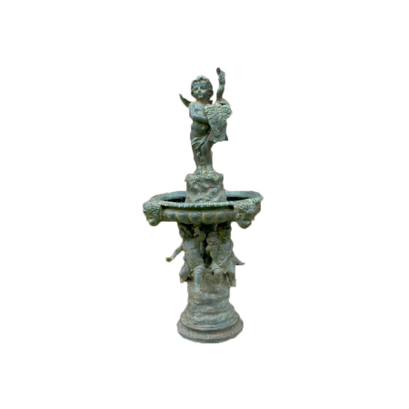 SRB701111 Bronze Cupid holding Swan Fountain by Metropolitan Galleries Inc