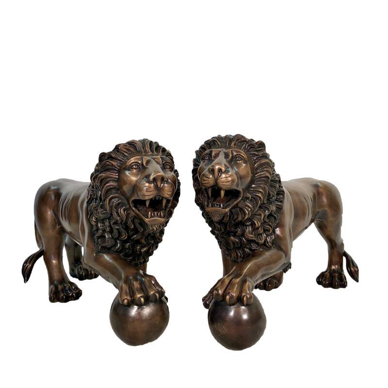 SRB703811 Bronze Walking Lions with Ball Sculpture Set by Metropolitan Galleries Inc