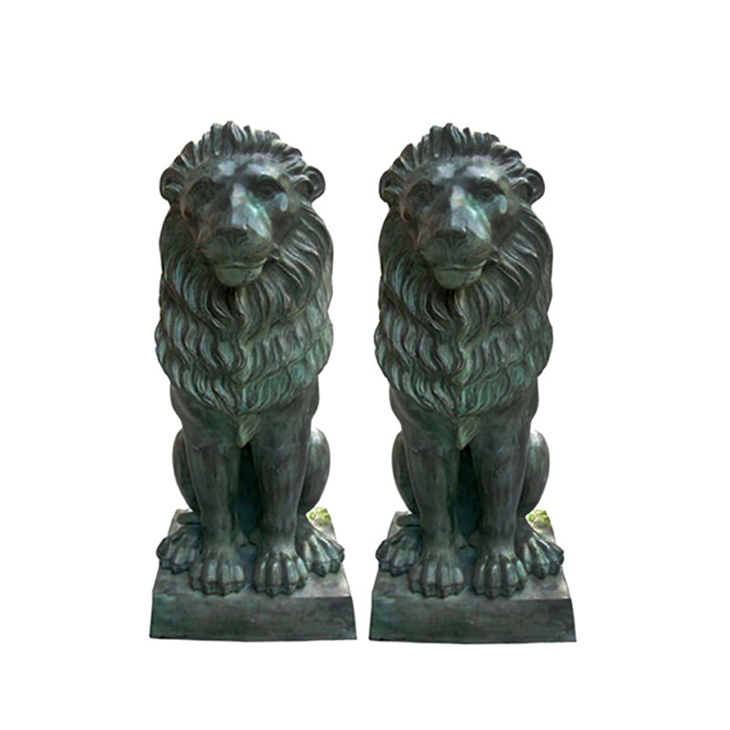 SRB704338-PR Bronze Sitting Lion on Base Sculpture Pair by Metropolitan Galleries Inc