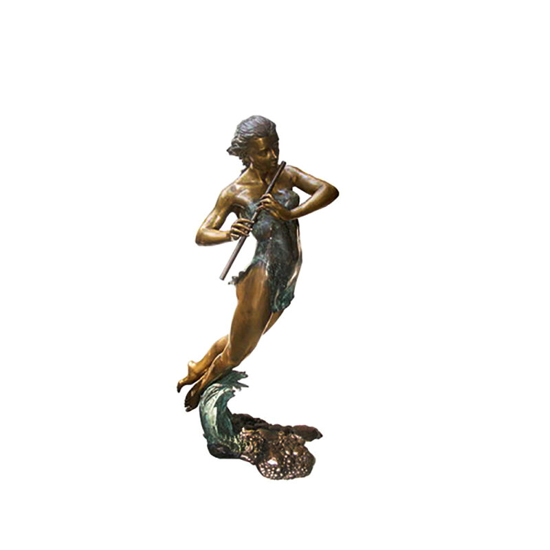 SRB706039 Bronze Beach Girl playing Flute Sculpture by Metropolitan Galleries Inc