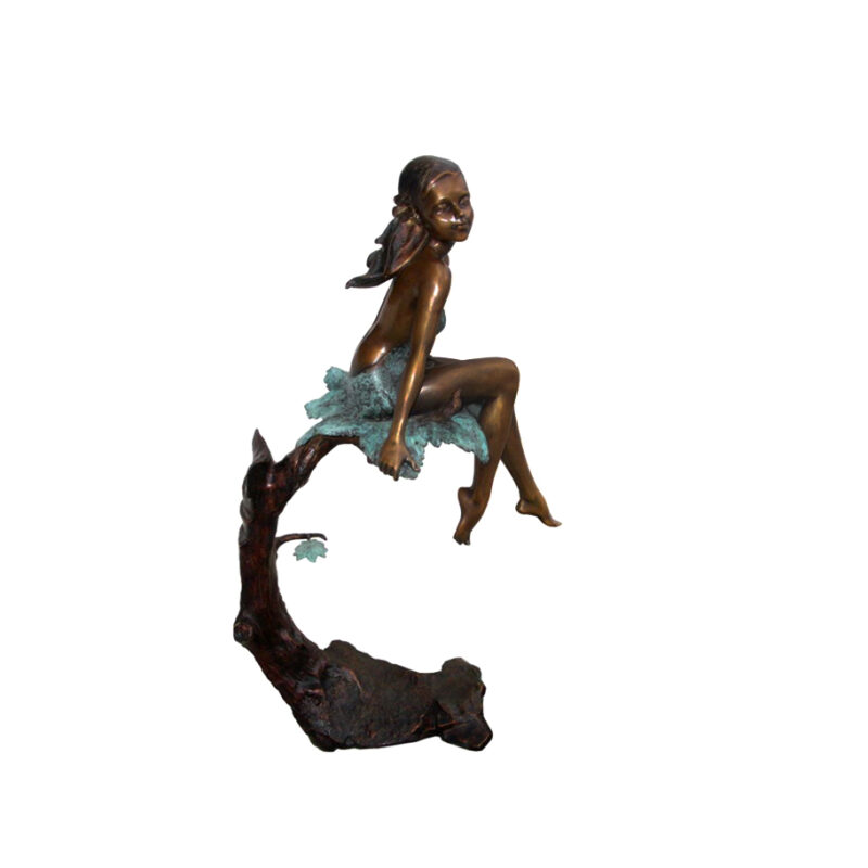 SRB706471 Bronze Girl sitting in Tree Sculpture by Metropolitan Galleries Inc