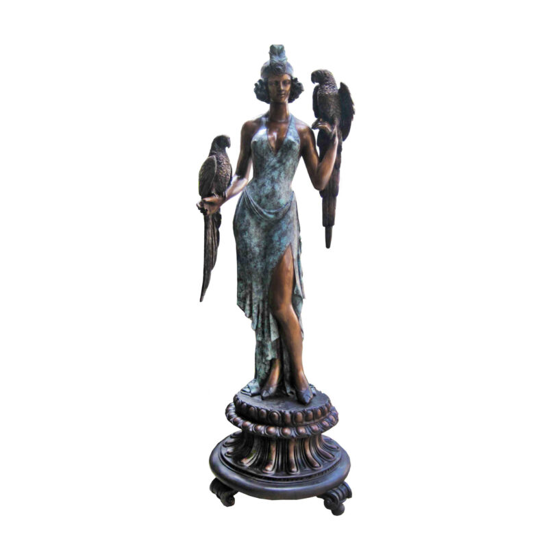 SRB707148 Bronze Lady with Two Parrots Sculpture by Metropolitan Galleries Inc