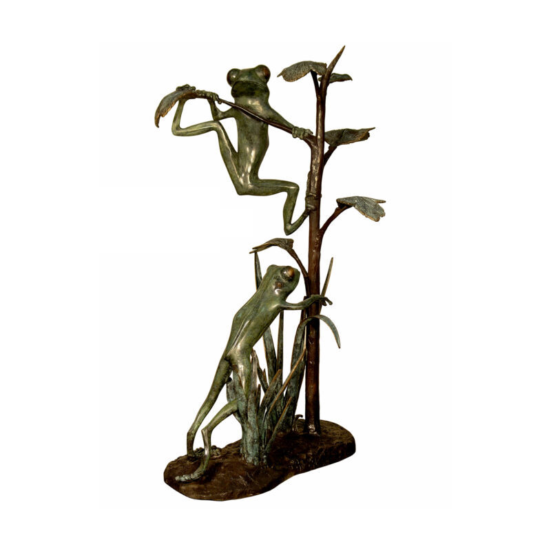 SRB050542 Bronze Two Frogs on Tree Sculpture by Metropolitan Galleries Inc