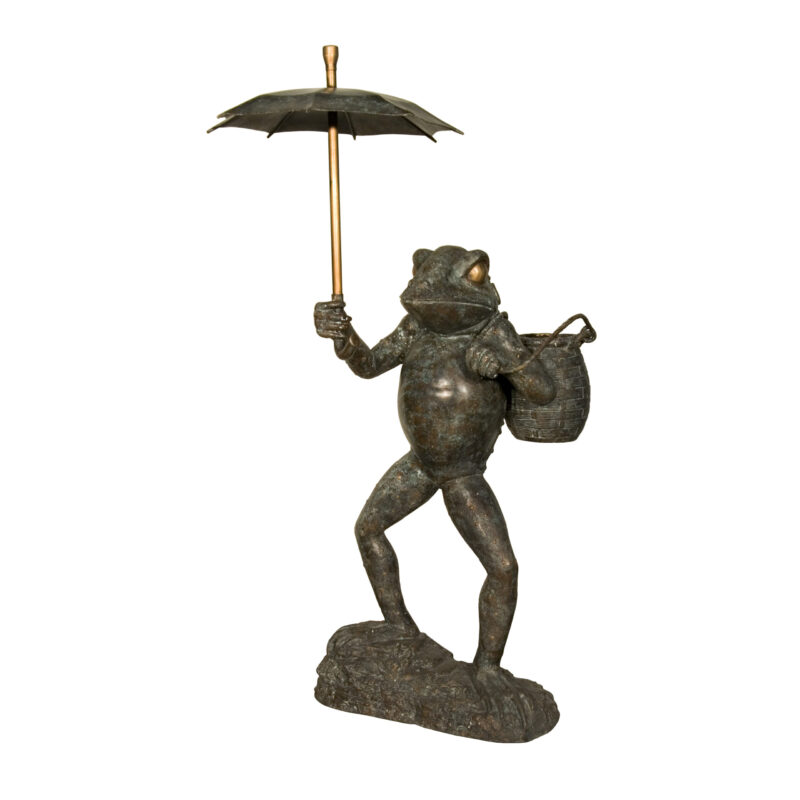 SRB056282 Bronze Frog with Bucket & Umbrella Fountain Sculpture by Metropolitan Galleries Inc
