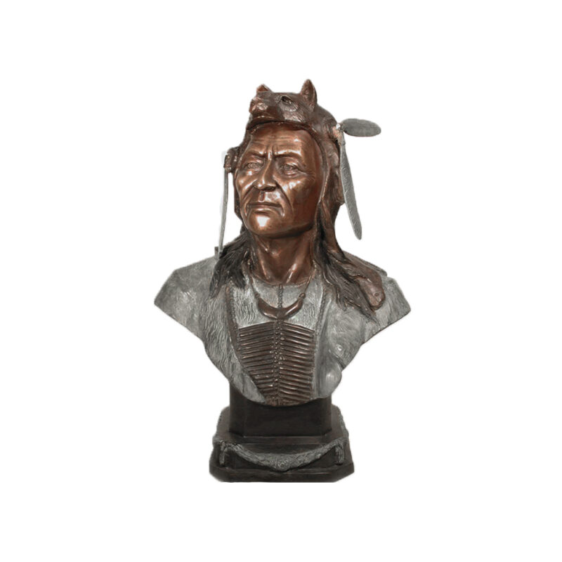 SRB058009 Bronze Indian Bust Sculpture by Metropolitan Galleries Inc