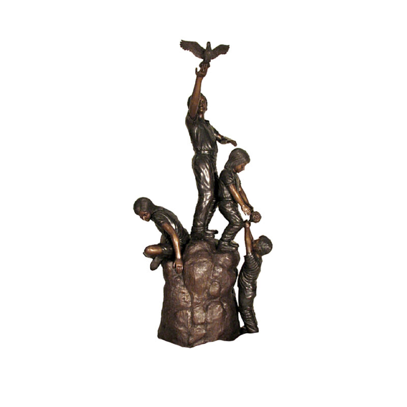 SRB48805 Bronze Four Children on Boulder Rock Sculpture by Metropolitan Galleries Inc