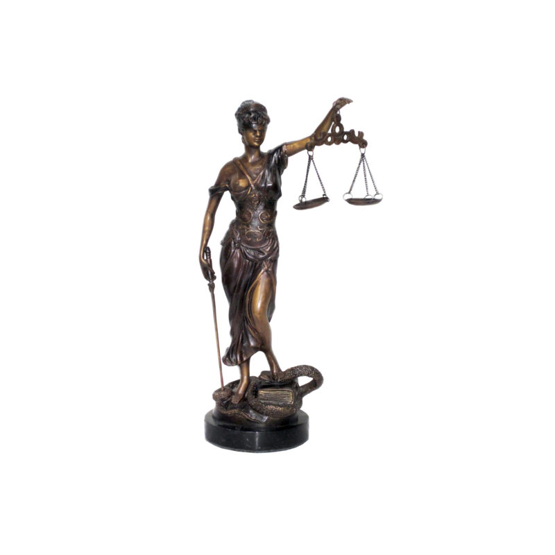 SRB703803 Bronze Lady Justice Table Top Sculpture on Marble Base by Metropolitan Galleries Inc