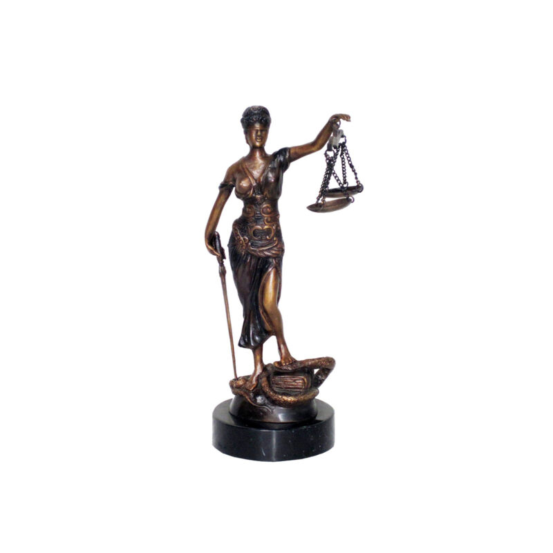SRB703807 Bronze Lady Justice Table Top Sculpture on Marble Base by Metropolitan Galleries Inc