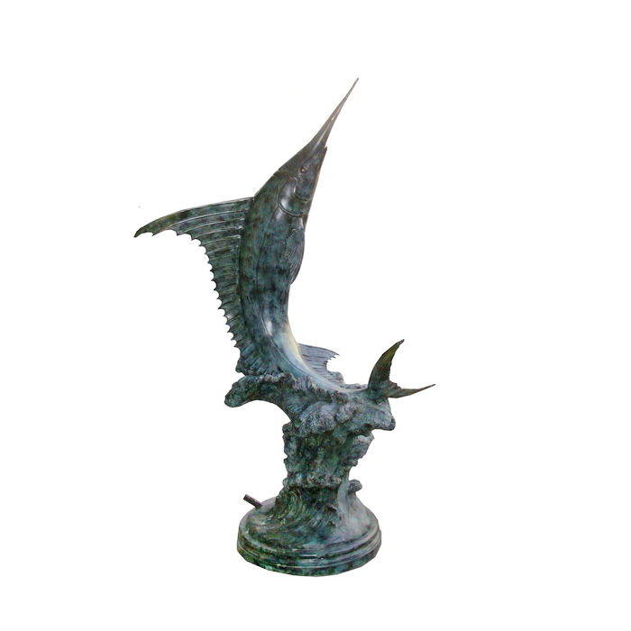 SRB705251 Bronze Sailfish on Base Fountain Sculpture by Metropolitan Galleries Inc