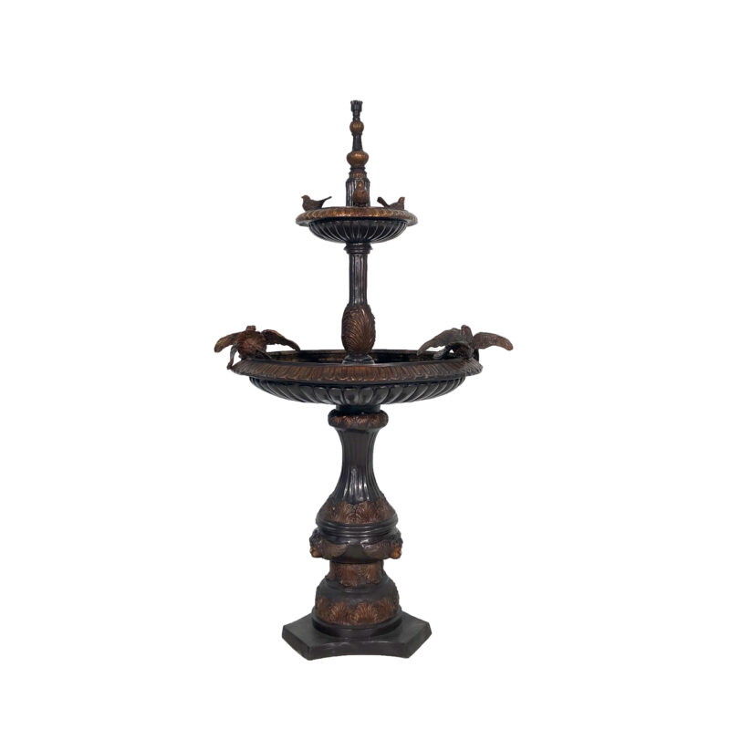 SRB057152 Bronze Two Tier Doves Fountain by Metropolitan Galleries Inc