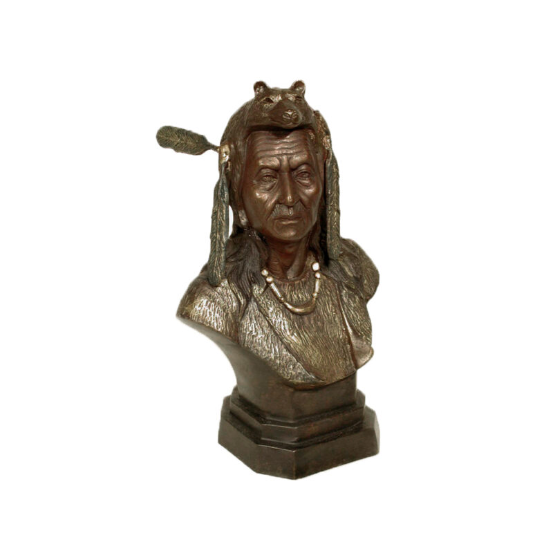 SRB058012 Bronze Indian Bust Sculpture by Metropolitan Galleries Inc