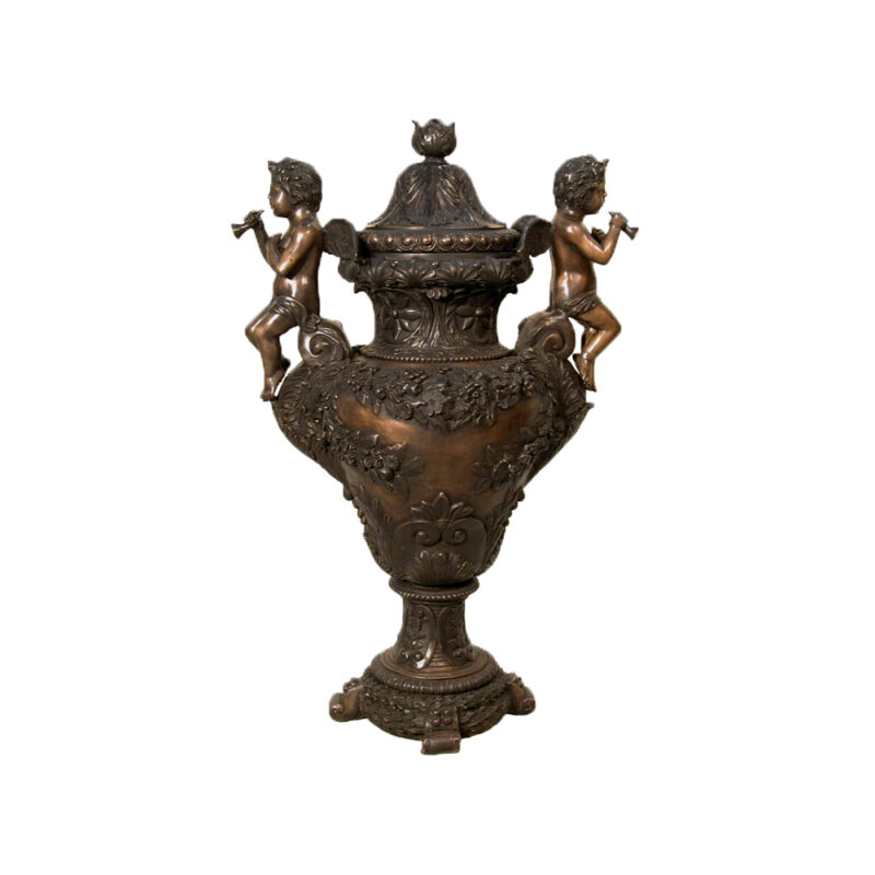 SRB074180 Bronze Two Cupids on Urn with Lid Sculpture by Metropolitan Galleries Inc
