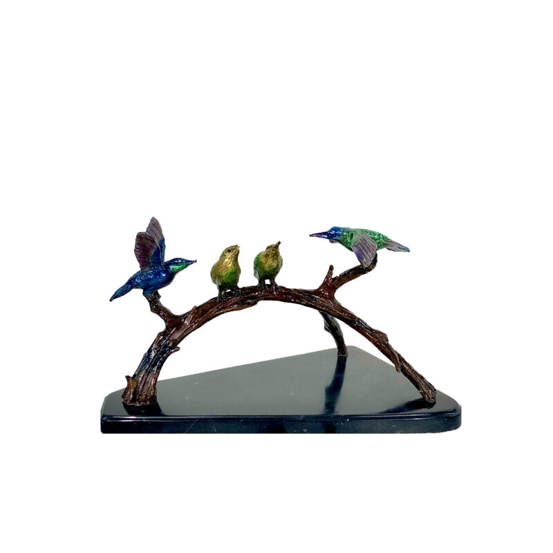 SRB097028C-II Bronze Colorful Hummingbirds on Branch Sculpture atop Marble Base by Metropolitan Galleries Inc