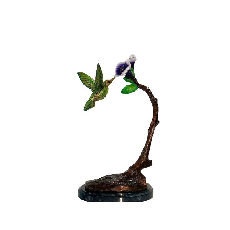 SRB097029 Bronze Colorful Hummingbird on FLower Sculpture by Metropolitan Galleries Inc