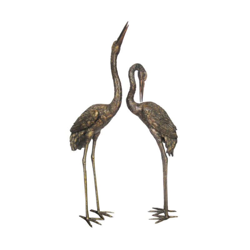 SRB702177 Bronze Crane Sculpture Set in Distressed Brown Patina by Metropolitan Galleries Inc
