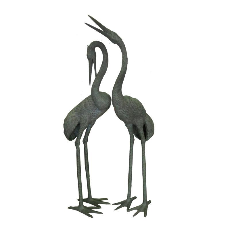 SRB702253 Bronze Large Standing Crane Sculpture Set by Metropolitan Galleries Inc
