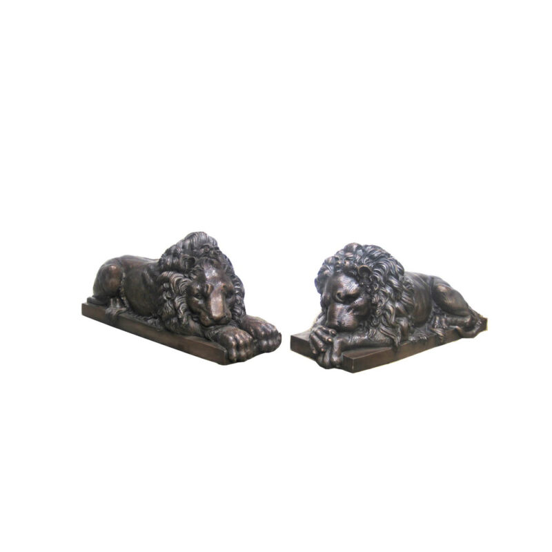 SRB704395 Bronze Small Laying Lion Sculpture Pair by Metropolitan Galleries Inc