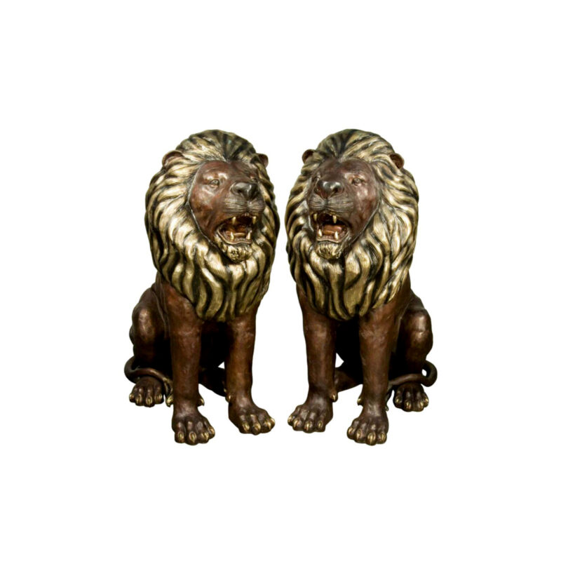 SRB018049-50 Bronze Sitting Lion Set with Polished Brass Highlights by Metropolitan Galleries Inc