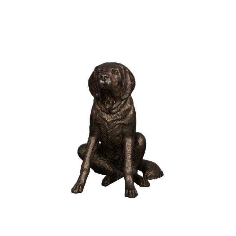 SRB018114 Bronze Sitting Saint Bernard Dog Sculpture by Metropolitan Galleries Inc