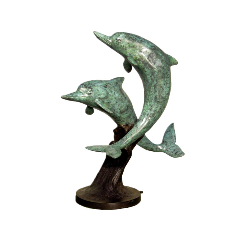 SRB028926 Bronze Two Dolphins on Base Fountain Sculpture by Metropolitan Galleries Inc