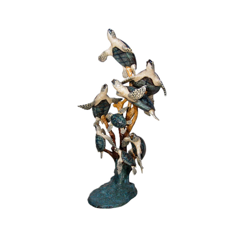 SRB028934C Bronze Eight Sea Turtles Fountain Sculpture in Color Finish by Metropolitan Galleries Inc.