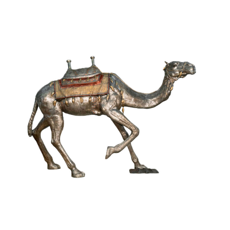 SRB028989-SP Bronze Saddled Camel Sculpture in Silver Patina by Metropolitan Galleries Inc
