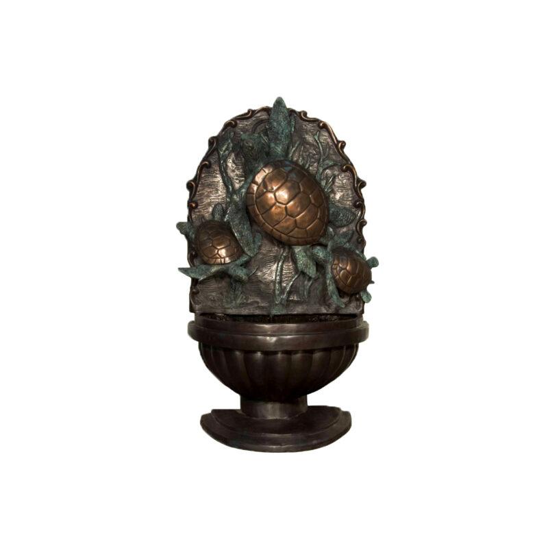 SRB028992 Bronze Sea Turtle Trio Wall Fountain Sculpture by Metropolitan Galleries Inc
