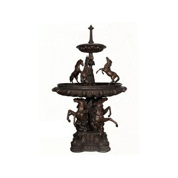 SRB052636 Bronze Eight Horses Tier Fountain Sculpture by Metropolitan Galleries Inc