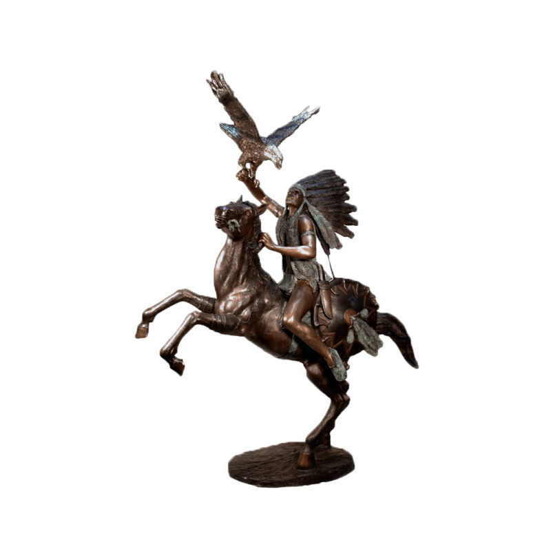 SRB028595 Bronze Indian on Horse with Eagle Sculpture by Metropolitan Galleries Inc