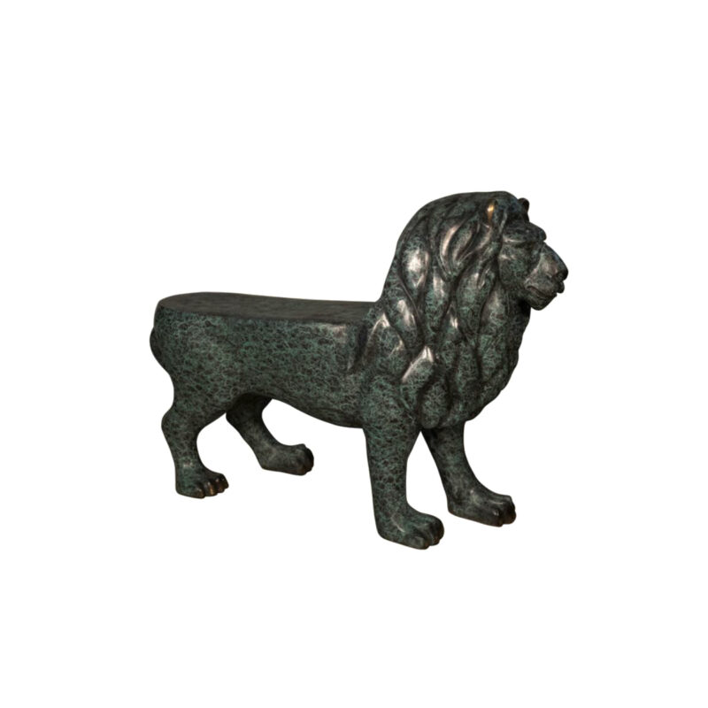 SRB047032 Bronze Lion Bench Sculpture by Metropolitan Galleries Inc