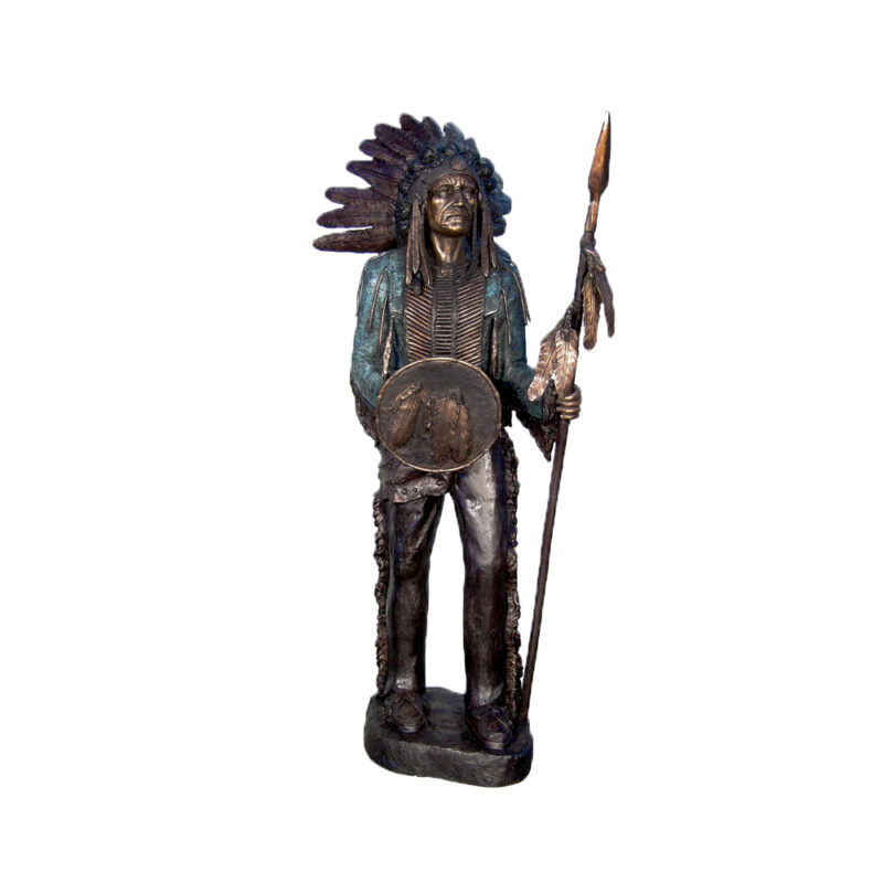 SRB052395 Bronze Standing Indian holding Arrow Sculpture by Metropolitan Galleries Inc