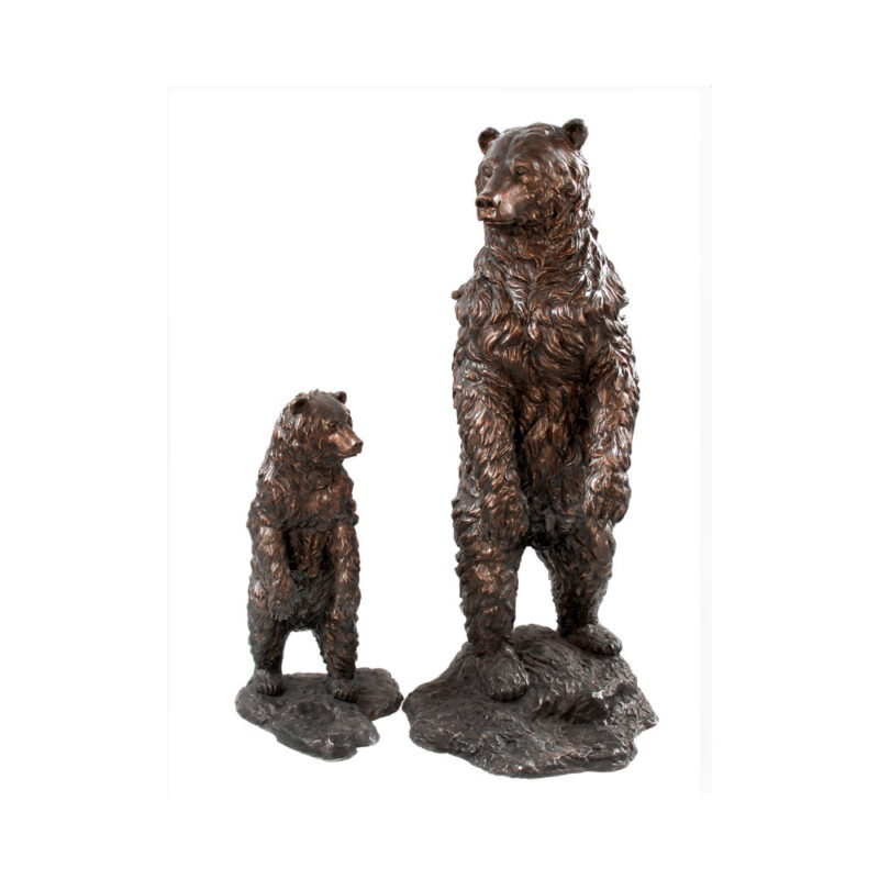 SRB055685-90 Bronze Standing Mother Bear & Standing Cub Sculpture by Metropolitan Galleries Inc.