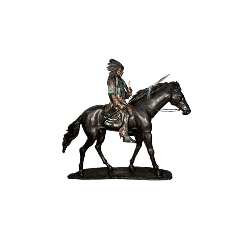 SRB070025 Bronze Indian on Horse Sculpture by Metropolitan Galleries Inc