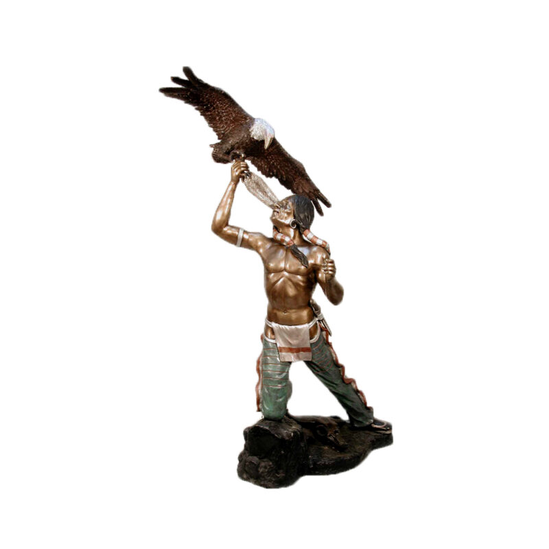 SRB070085 Bronze Spirit Journey Indian with Eagle Sculpture by Metropolitan Galleries Inc.