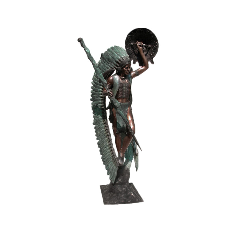 SRB074115 Bronze Standing Indian Chief Sculpture by Metropolitan Galleries Inc