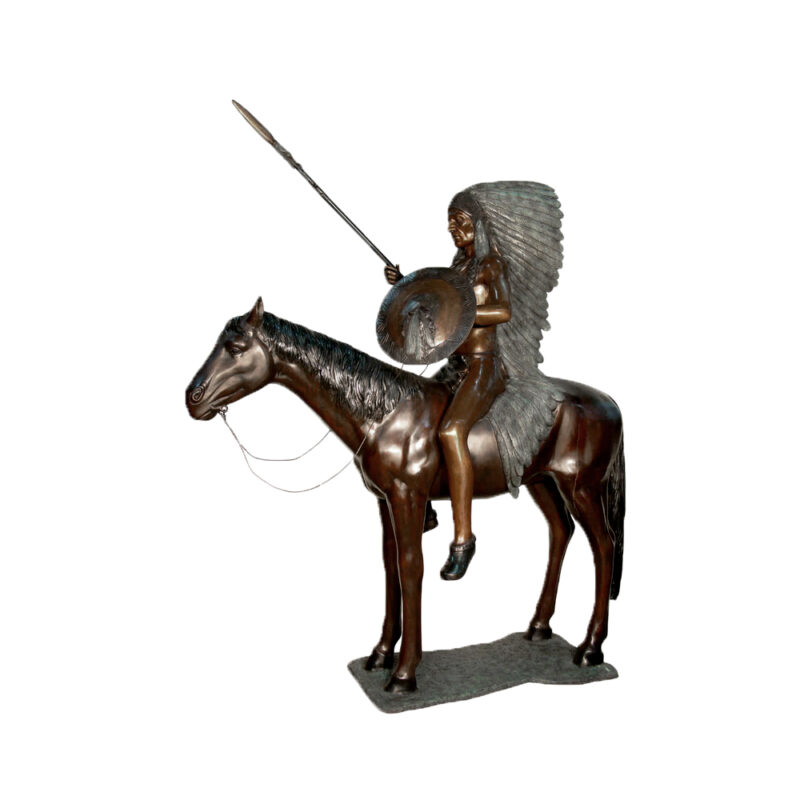 SRB081119 Bronze Indian Chief on Horse Sculpture by Metropolitan Galleries Inc