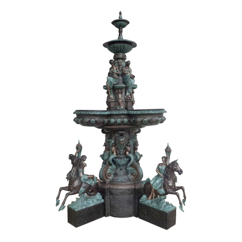 SRB099880 Bronze Classical Aquatic Mythological Fountain Sculpture Set by Metropolitan Galleries Inc - Copy