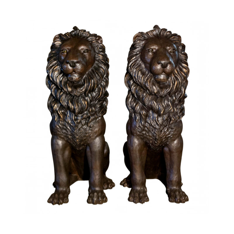 SRB099881 Bronze Giant SItting Lions Sculpture Pair by Metropolitan Galleries Inc
