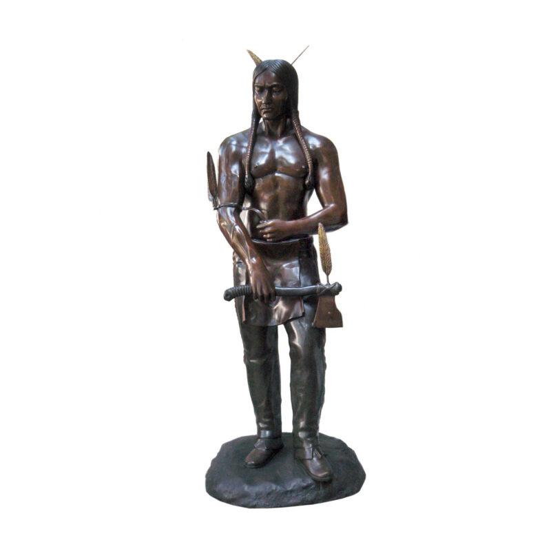 SRB703729 Bronze Standing Indian with Hatchet Sculpture by Metropolitan Galleries Inc