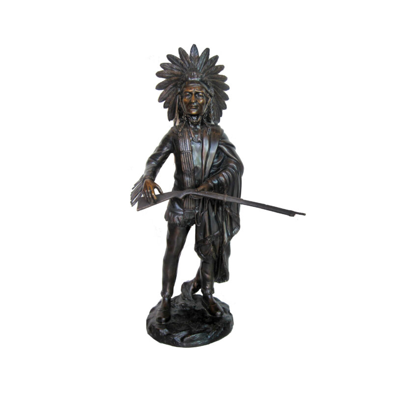 SRB706614 Bronze Standing Indian holding Rifle Sculpture by Metropolitan Galleries Inc